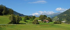 Ilanz panarama valley & mountain scene_310816_01 (DS 90008) Tags: mountains ilanz disentis hills cowsheds landscape skyline railway rhb countryside switzerland swissalps panaramicscene scenic view valley ra engineering wildlife nature