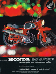 Honda 50 Sport  (C110)  ad,  France  1963 (Lawrence Peregrine-Trousers) Tags: honda 50 france ads adverts advertisement annonces 50cc c100 c102 c110 c114 ohv pushrod 1963 cub super sports tourisme