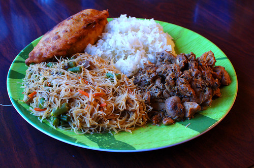 Adobo Chicken, Asian Vegetarian Noodles, Vegetarian Empanada, Rice