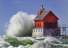 "Grand Haven Lighthouse , Grand Haven Michigan, (Pierhead outer)"" Front page explore"" (Michigan Nut) Tags: blue light red usa lighthouse seascape storm color green art beach nature water clouds landscape geotagged photography pier waves wind lakemichigan nautical recent grandhavenlighthouse frontpageexplore d700"