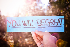 You Will Be Great. (tyreke.white) Tags: blue trees red sky black green yellow paper nikon hand bokeh branches fingers magenta flare sharpie creases d3000