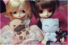 Namine and Kairi love cats!!! <3 (Au Aizawa) Tags: cat japanese outfit doll handmade kitty siamese dal felt sakura neko frara drta furara