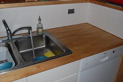 """New subway tiles around kitchen sink • <a style=""""font-size:0.8em;"""" href=""""http://www.flickr.com/photos/7358896@N06/5215815605/"""" target=""""_blank"""">View on Flickr</a>"""