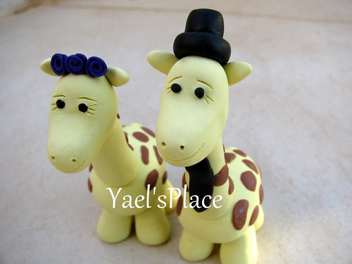 giraffe love -  custom wedding cake topper