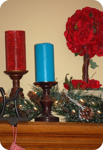 painted candles on christmas mantel 2010