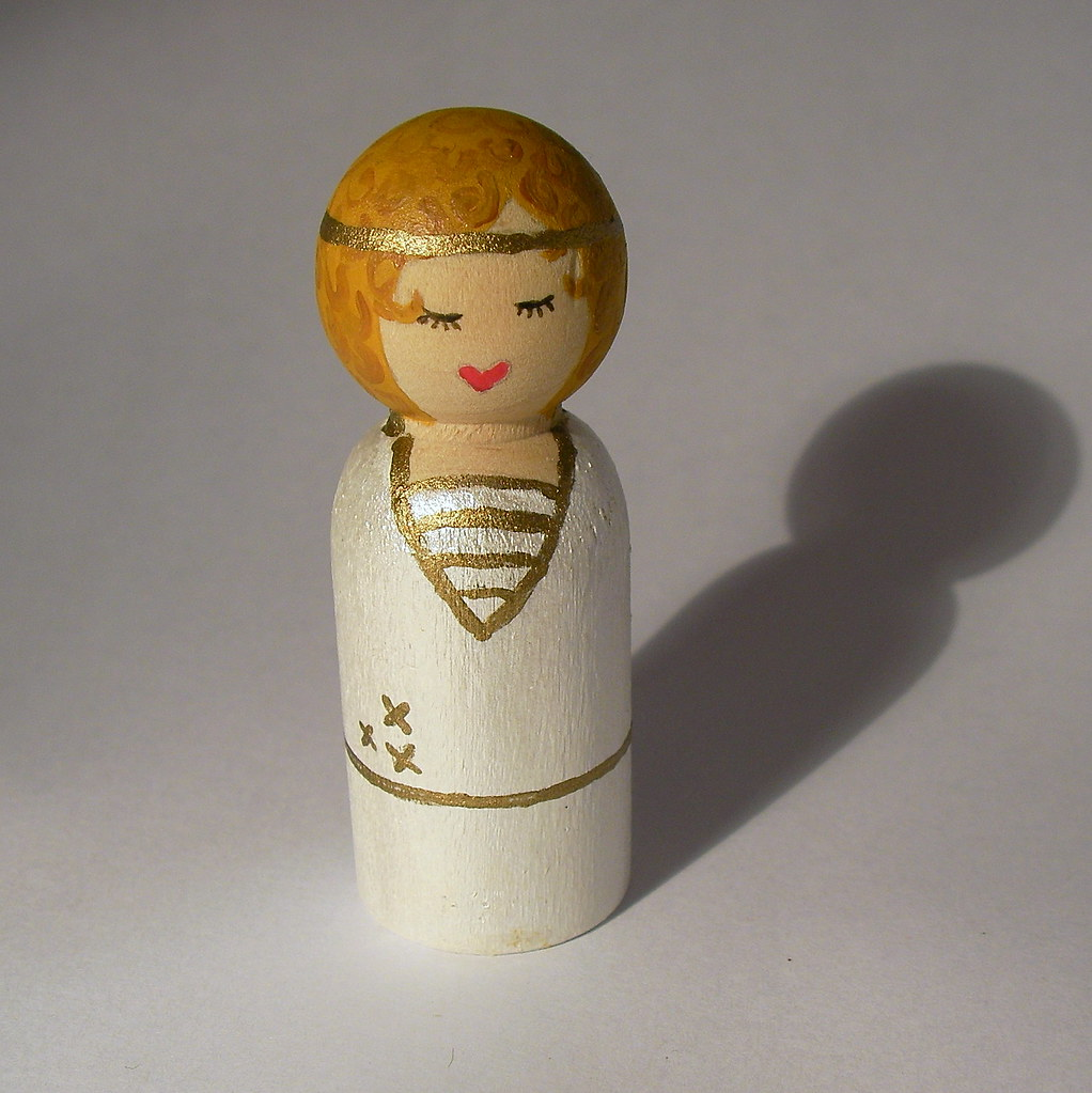 flapper angel wooden doll