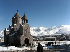Holy Ressurection Orthodox  Church (Lea_from_Armenia) Tags: city winter mountain snow church cross kirche christian mount holy chiesa armenia orthodox eglise snowscape armenian apostolic caucas ressurection armenie spitak caucasia  hayasdan