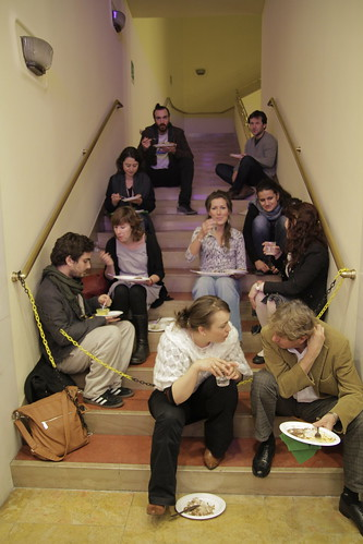 Huddled at the stairs for lunch