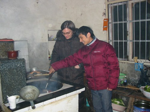 John and I cooking Chinese food during Chinese New Year
