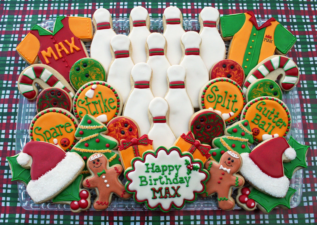 Holiday Theme Bowling Cookies