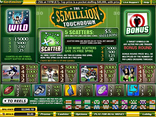 free $5 Million Touchdown slot mini symbol