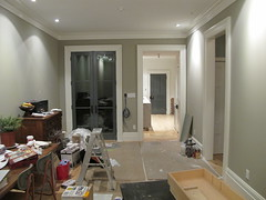 Living Room (southofbloor) Tags: toronto kitchen waterfall pigeon interior sword renovations marble custom bianco stainless cabinets carrera rosewood countertops farrowandball carera bookmatched