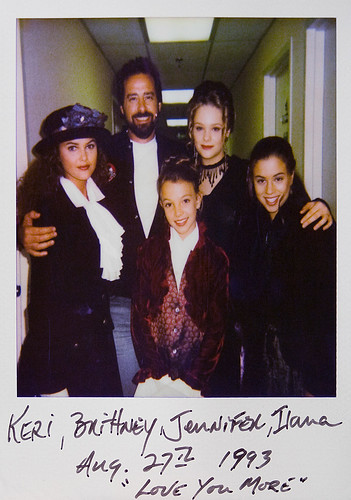 Kerri Russell, Gary Spatz, Britney Spears, Jennifer McGill and Ilana Miller backstage at Disney's Mickey Mouse Club