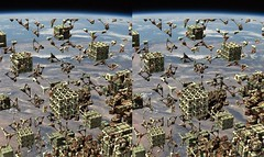 Mandelbox invasion of Earth (Absolute Chaos) Tags: art digital landscape stereoscopic stereogram stereophoto stereophotography earth space fraktal nasa stereo computerart stereopair artedigital invasion opticalillusion mandelbrot lart ilusinptica stereoscope stereoscopy hivemind landskap digitalkunst stereograms optischetuschung sourceforge stroscopie thorieduchaos stereoskopisch  estereograma  digitalekunst senidigital sterephotography rymden estereoscopia estereoscpico chaostheorie schillr flickriver  fiveprime strophotographie mandelbox mandelbulb mandelbulber  stereopari