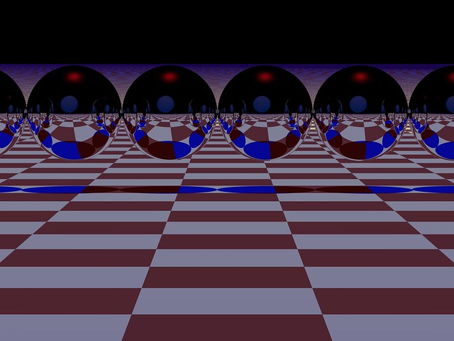 multiple reflective spheres on checkerboard