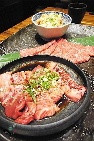 羽下肉、橫膈膜(烤肉醬)、和牛大腸(烤肉醬)