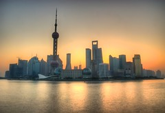 Sunrise over Pudong (DPGold Photos) Tags: china sun building sunrise nikon cityscape shanghai pudong hdr tonemapped