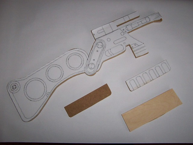 Ncc props fallout 3 aer 9 laser rifle after that i glue this printed blueprint on a 12mm mdf board and cut it out malvernweather Images