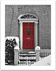 Seasons Greetings xx (Pink Flutterby   OFF) Tags: christmas door friends red white house holiday snow black color colour ice home canon fence gate bricks powershot contacts accent colouraccent sx120is sx120
