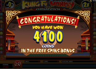 free Kung Fu Monkey free spins win