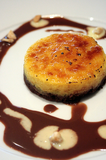 """Brulee"" Valrhona Passionfruit Tart, Creme Anglaise and Chocolate Sauce"