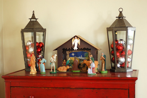 Ornament filled lanterns.