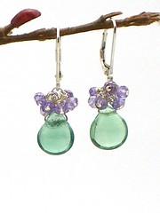 brio cluster flourite, amethyst, sterling (artfuljewelrydesigns) Tags: green silver purple handcrafted sterling earrings amethyst flourite artisanjewelry