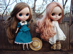 two FBLs on a fence (maidensuit) Tags: wood blue trees winter sky brown fence outside vinter dolls very blythe vicky arden