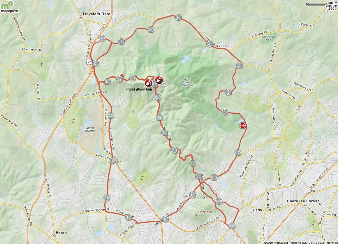 Paris Mountain Loops Map