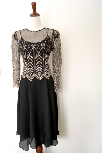 Lace & Chiffon Cocktail Dress, Vintage 80's