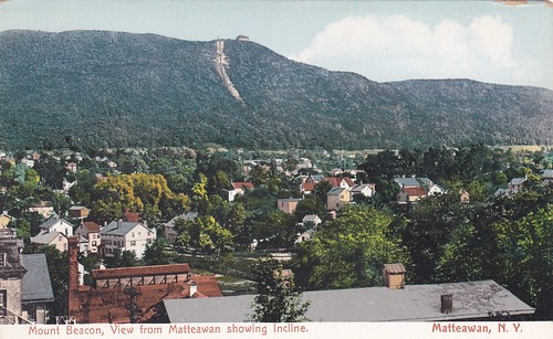 Mount Beacon Incline Railway visible from town