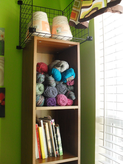 bookcase of yarn stash at Tyler Handmade