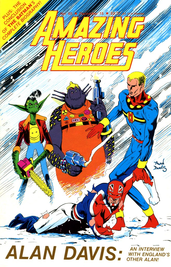 Amazing Heroes 1985 cover by Alan Davis featuring Marvelman, DR Quinch, Captain Britain