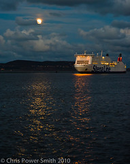 Full Moon over Howth Head as Stena Passes By (chrisps) Tags: light sky howth dublin moon reflection water wall night clouds port bay nikon shot south great 85mm bull line nikkor stena f14g d3s
