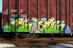 Abomb (everkamp) Tags: seattle railroad graffiti washington trains freight boxcars dwc abomb rollingstock railart tbv canadiannationalrailways benching