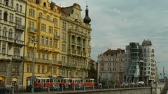 Masarykovo nbe and Dancing House (uempe (only sporadically here)) Tags: city house building architecture digital ginger town photo europa europe foto prague capital hauptstadt transport machine tram haus technik prag praha tschechien tschechischerepublik novmsto unescoworldheritagesite unesco worldheritagesite panasonic transportation stadt fred architektur vehicle czechrepublic newtown verkehr 2009 unescoworldheritage gebude worldheritage fahrzeug whs ceskarepublika maschine neustadt dancingbuilding czechia novemesto welterbe unescowelterbe deconstructivism dancinghouse tancicidum cesko masarykovonbe tanzendeshaus unescowhs esko eskrepublika rasinovonabrezi dekonstruktivismus tancdm panasoniclumixdmcfz7 strasenbahn masarykovonabrezi pragerneustadt ranovonbe