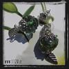 MAMURA orecchini fiori verde vetro soffiato green lampwork flower earrings
