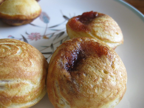 Strawberry jam filled ebelskivers