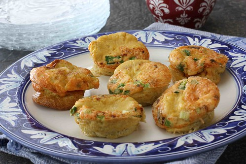 Mini Frittatas with Bacon, Parmesan Cheese & Green Onions