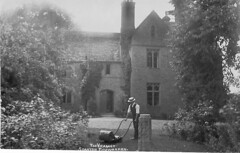 1910: The Vicarage at Stanton Fitzwarren (Postcard) (Local Studies, Swindon Central Library) Tags: trees grass garden postcard lawn lawnmower 1910 mower 1910s hooper shrubs gardener thevicarage stantonfitzwarren