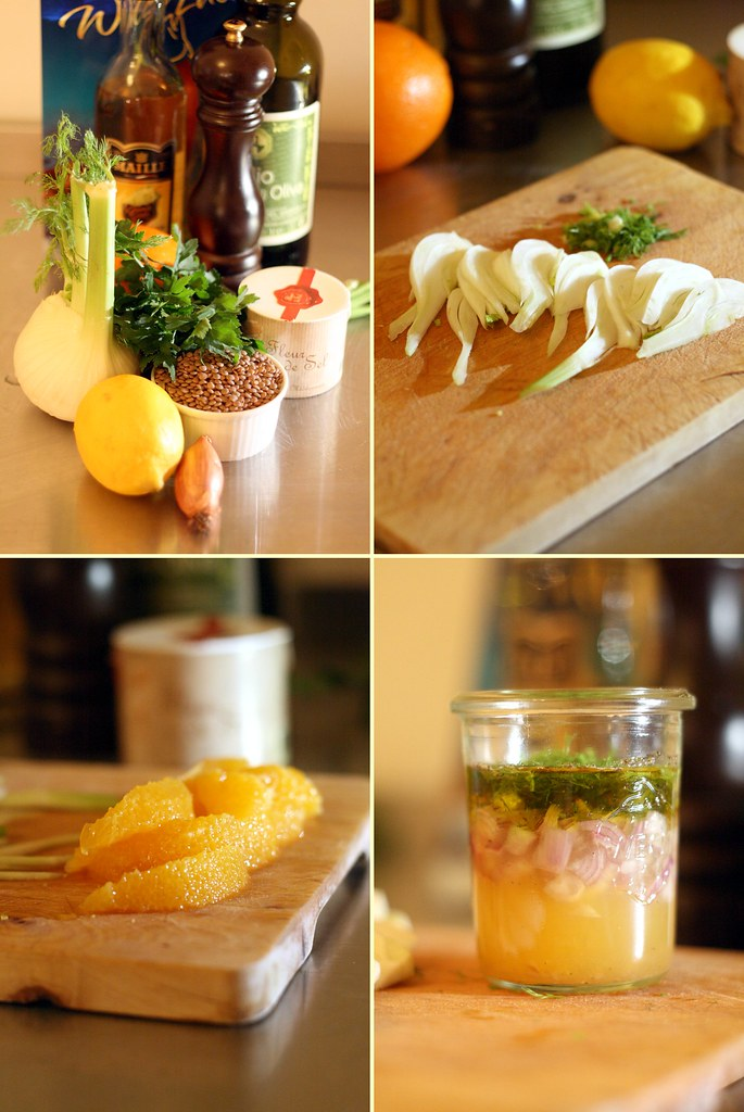 Fenouil, orange et sauce pour lentilles