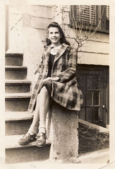 Girl on a stoop, the Bronx, 1943 (Robert Barone) Tags: clara family newyork vintage bronx 1940s historical italians italianamericans fotodepoca italoamericani