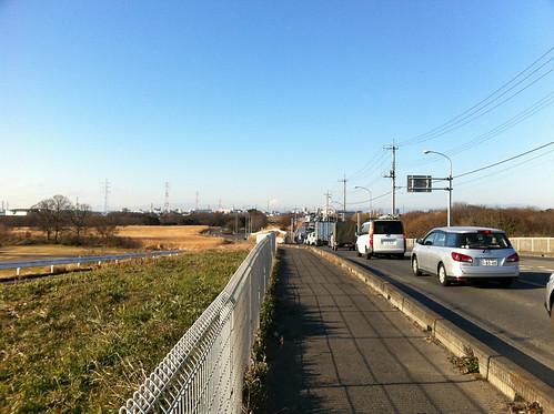 秋ヶ瀬橋 富士山が見える