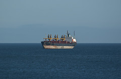 Ship (Sandy Beach Cat) Tags: uk blue sea sky scotland boat rust ship empty bluesky cargo lothian eastlothian tyneinghame tyneinghamme tyneingham