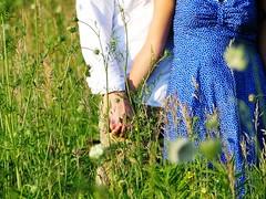 CELEBRATE SUMMER (lmaekelley) Tags: flowers wild field couple happycouple whiteshirt bluedress boyandgirl coupleholdinghands