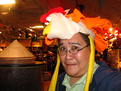 I've Got a Chicken On My Head! (Loren Javier) Tags: california me longbeach shorelinevillage lorenjavier thevillagehatshop