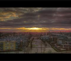 Amsterdam - Amsterdam Noord - NDSM - Sunrise (Stewart Leiwakabessy) Tags: blue trees houses sky tree amsterdam clouds sunrise buildings grey apartments gray cranes stewart hdr amsterdamnoord leiwakabessy stewartleiwakabessy photomatix