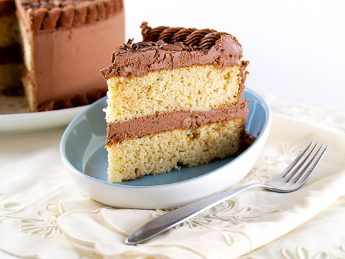 Buttermilk Cornmeal Cake with Chocolate  Buttermilk Frosting