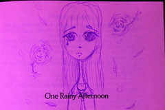 IMG_2402 (Vuffy VonHoof) Tags: sad girl drawing draw art pen ink paper pink purple blue woman young child teen paint paints roses rose leaves fall rule