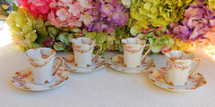 Antique Limoges Porcelain Chocolate Cups & Saucers Pink Drop Rose Swags Gold (Donna's Collectables) Tags: antique limoges porcelain chocolate pink rose swags gold thanksgiving christmas
